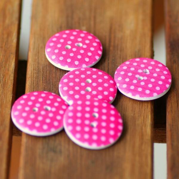 5 Holzknöpfe pink, rosa Punkte, ca.23mm